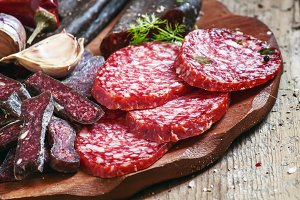 Meat appetizer platter with bacon, s