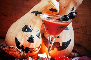 Bloody Halloween cocktail with black
