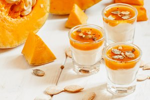 Pumpkin dessert with homemade yogurt