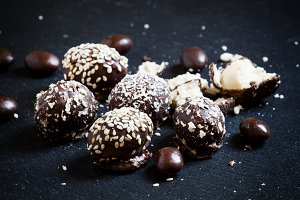 Chocolate candies with stuffing on a