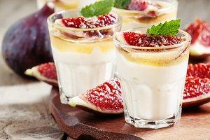 Creamy white yogurt with honey, figs