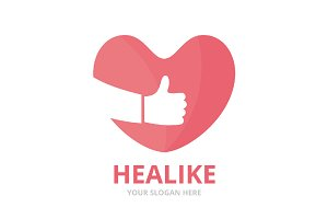 Vector heart and like logo