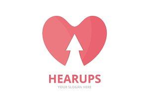 Vector heart and arrow up logo