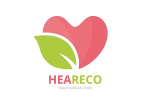 Vector heart and leaf logo