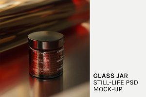 Glass Jar Still-life PSD Mock-up