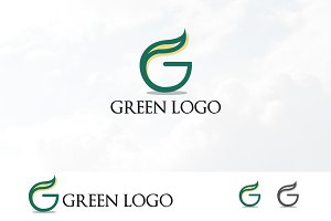 Green G Letter Ecology Leaf Logo