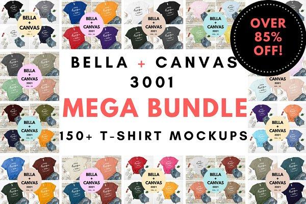 Bella Canvas 3001 Mega Bundle Mocku…
