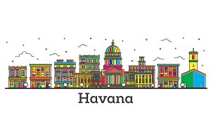 Outline Havana Cuba City Skyline