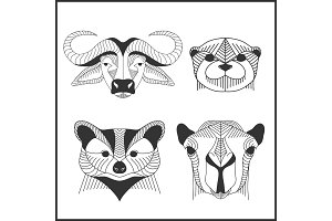 Set of polygonal animals. Polygonal