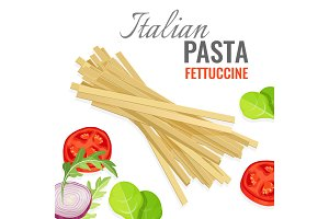 Italian pasta poster with fresh