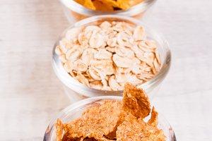 assortment breakfast cereals in smal