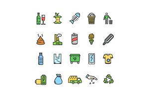 Trash Thin Line Icon Set.