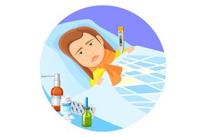 Child lying in bed with fever vector