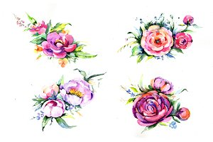 Elegant bouquet pink flower PNG set