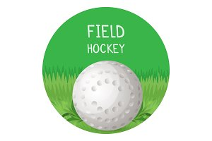 Field hockey poster with ball in