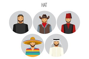 Hat types of men poster with