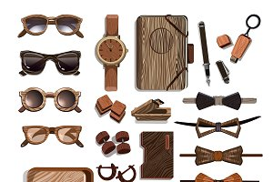 Wooden Hipster Accessories Set