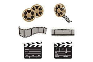 Film reel and clapper board symbols