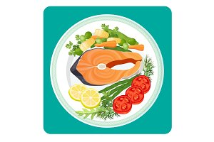 Salmon fish meat slice and