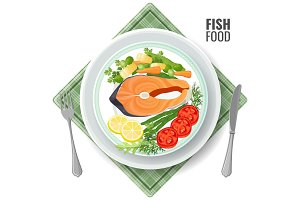 Fish food roasted salmon meat set