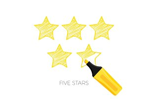 Five stars rating poster with