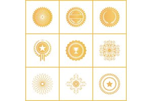 Vector Set Exclusive Golden Stamps