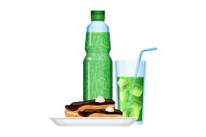 Fizzy drinks in bottle and cup with
