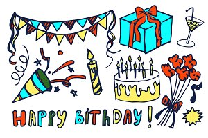 Happy Birthday Set Hand Drawn Vector