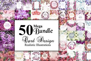50 Vector realistic floral cards