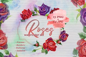 Roses watercolor PNG set