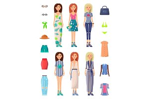 Ladies and Summer Mode Set Vector