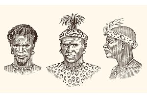 African tribes, portraits of