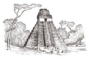 Maya Vintage pyramid. Aztec culture