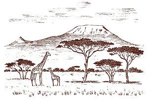 Vintage African landscape. Safaris