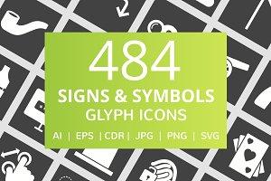 484 Signs & Symbols Glyph Icons