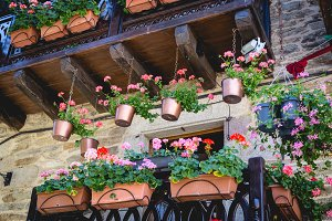 Beautiful balcony with flowers