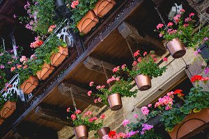 Beautiful balcony with flowers.