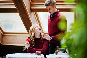 Young beautiful stylish couple in a