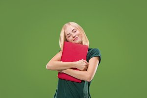 Businesswoman hugging laptop. Love