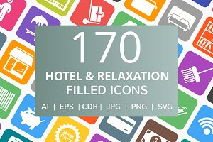 170 Hotel & Relaxation Filled Icons