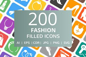 200 Fashion Filled Icons