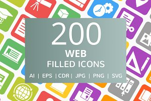 200 Web Filled Round Corner Icons