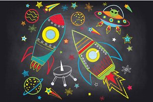 Chalkboard Outer space clipArt