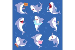 Shark vector cartoon seafish smiling
