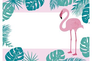 Flamingo and tropical leaves