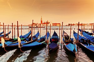 Gondolas on Grand Canal at sunset