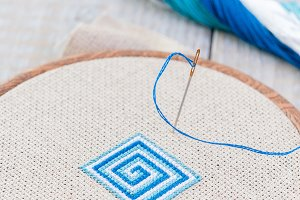 Set for embroidery,  hoop and  threa