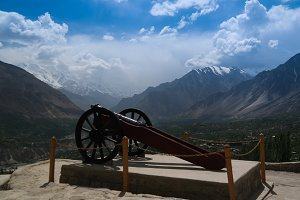 Gun near Baltit fort, view to Karima