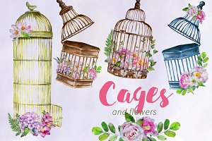 Watercolor Cages and Flowers Clipart