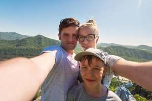 Selfie of family in mountain